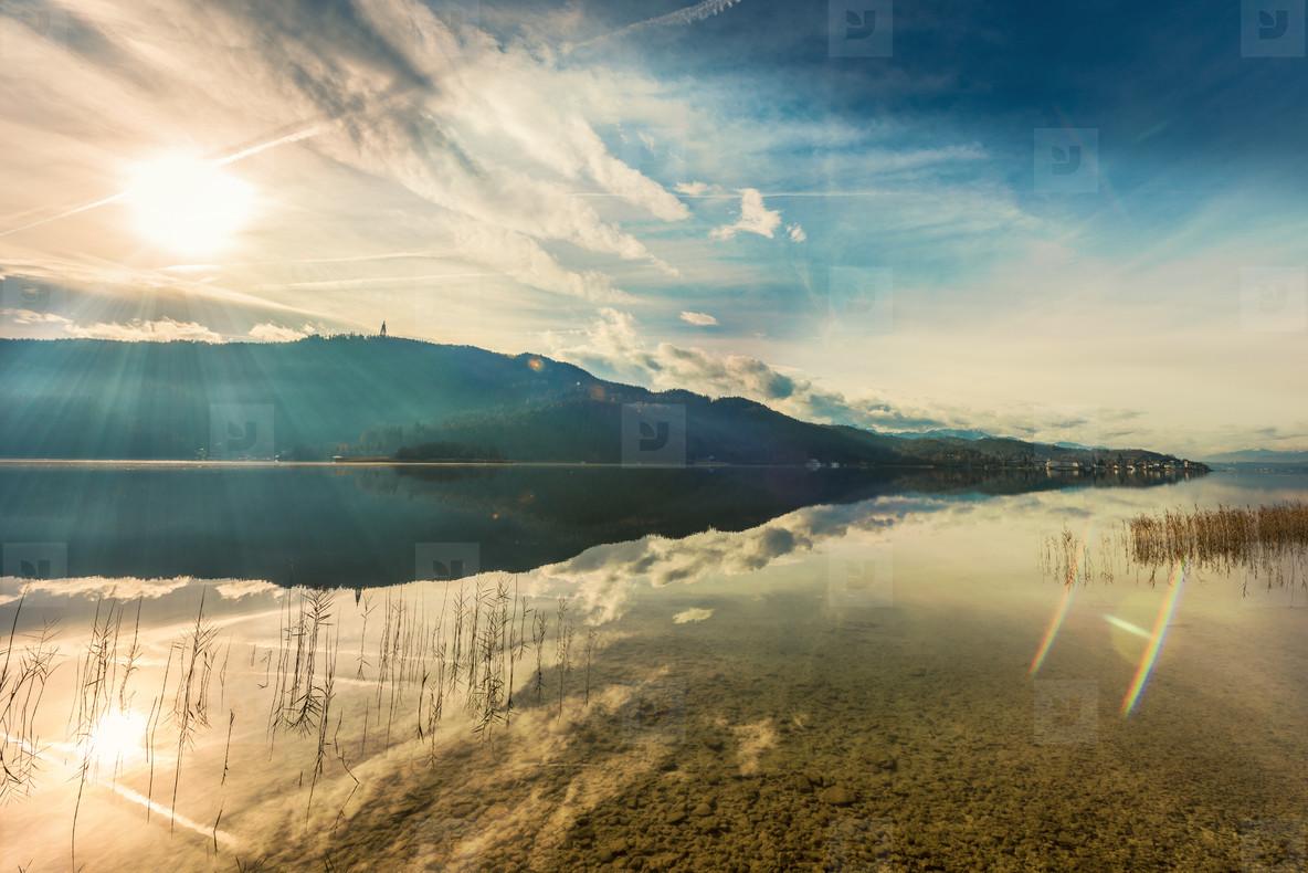 Sun rays  lake