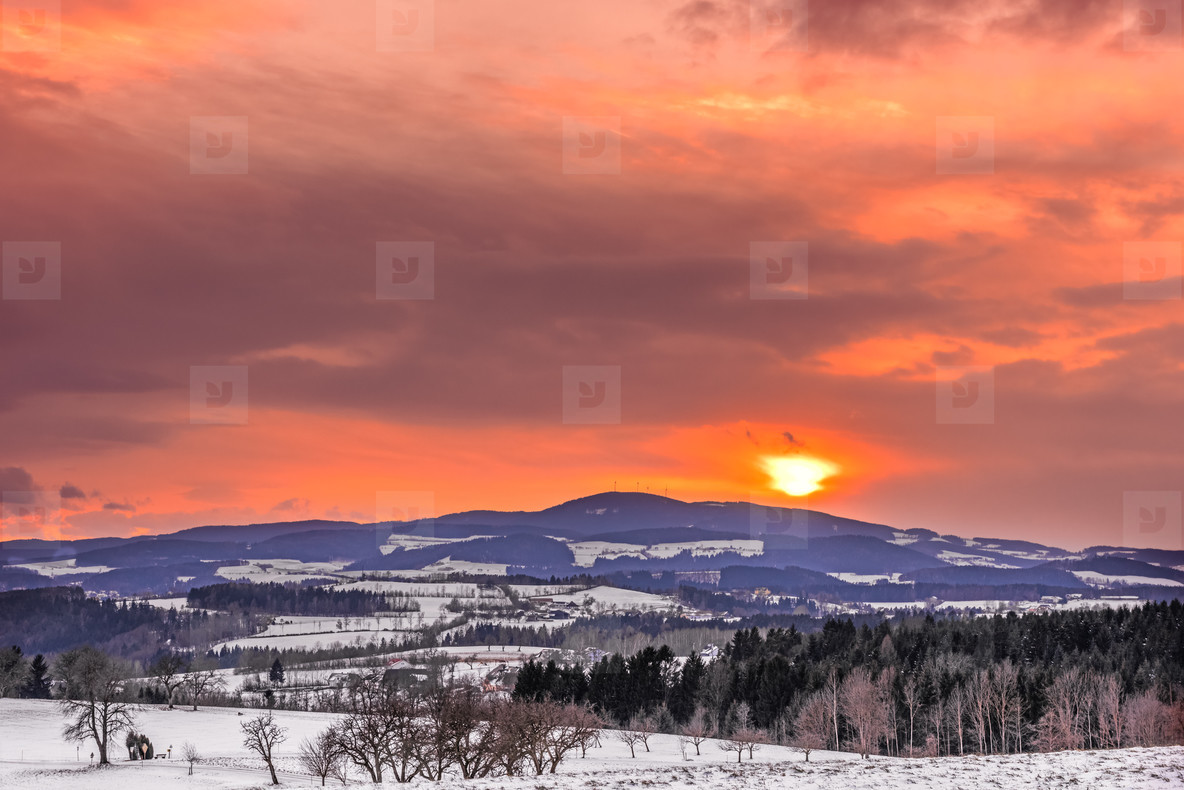 Burning winter landscape