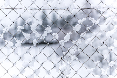 fence   chain   snow