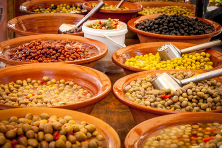 Different tasty olives