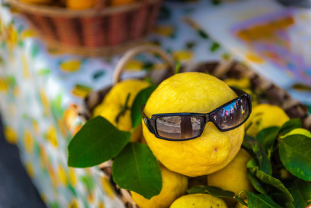 Lemon with sun glass