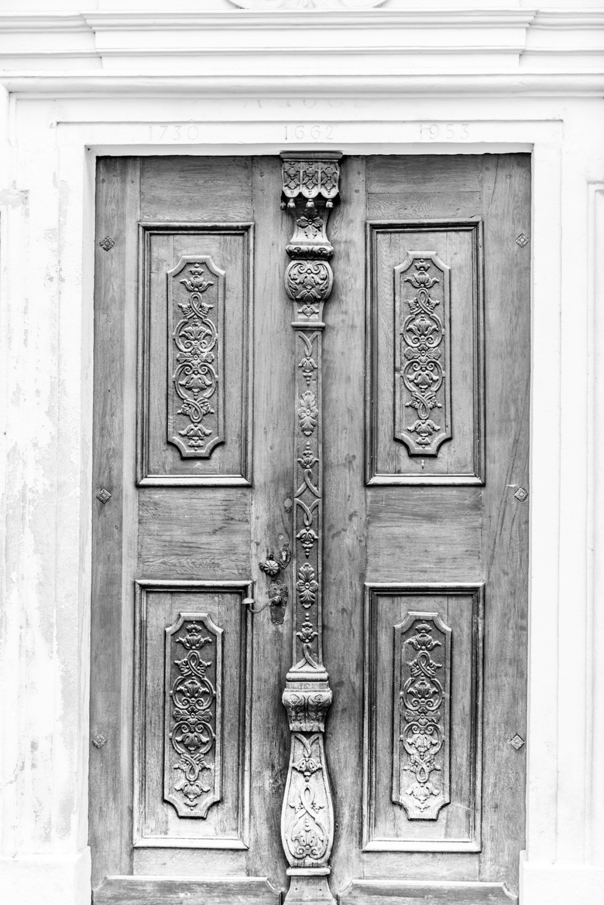 Black and white old door