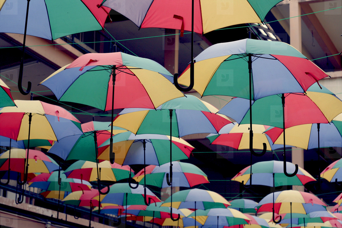 Street with colored umbrellas