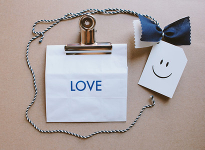 Gift paper bag and love message