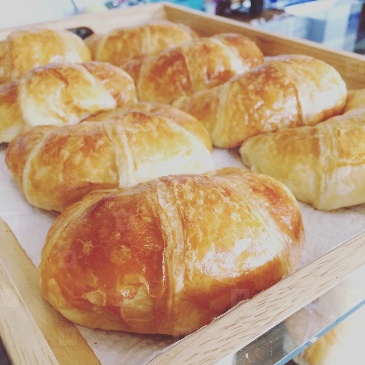 Freshly baked butter croissant