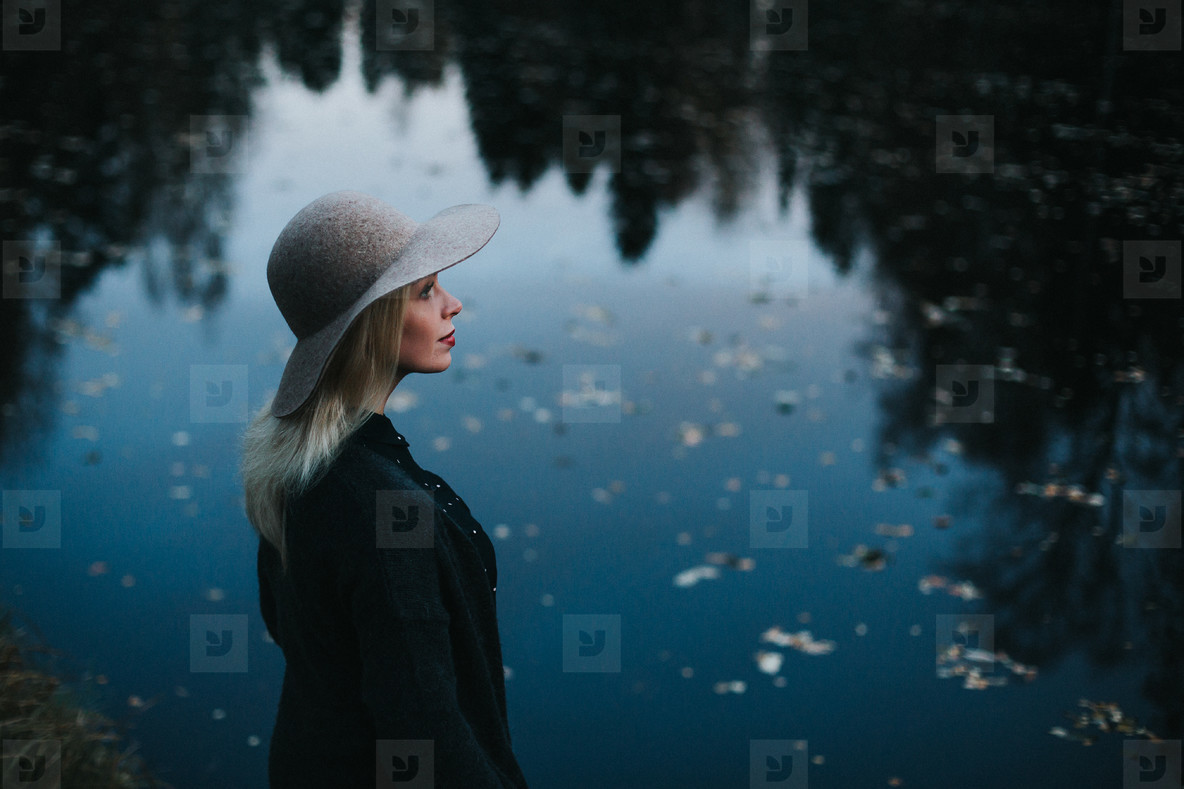 Hipster Model by the Lake