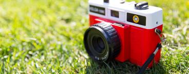 Red retro camera