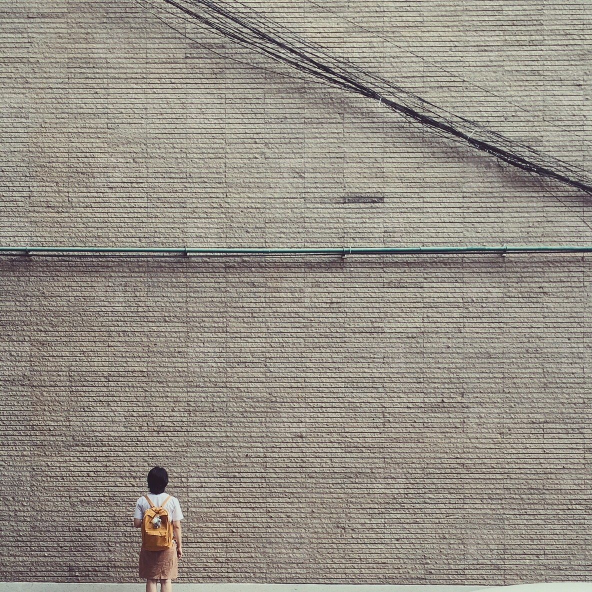 Young girl with brick wall
