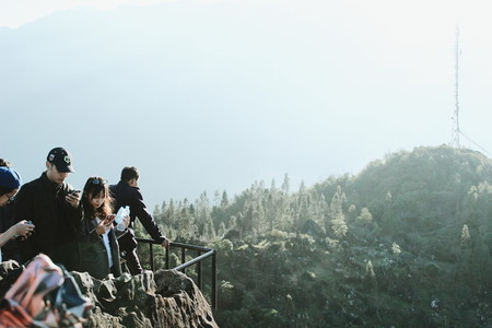 Tourists at viewpoint
