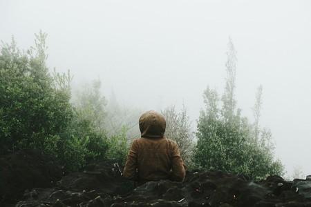 Woman in foggy