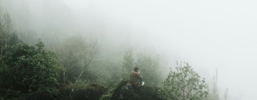 Woman in foggy
