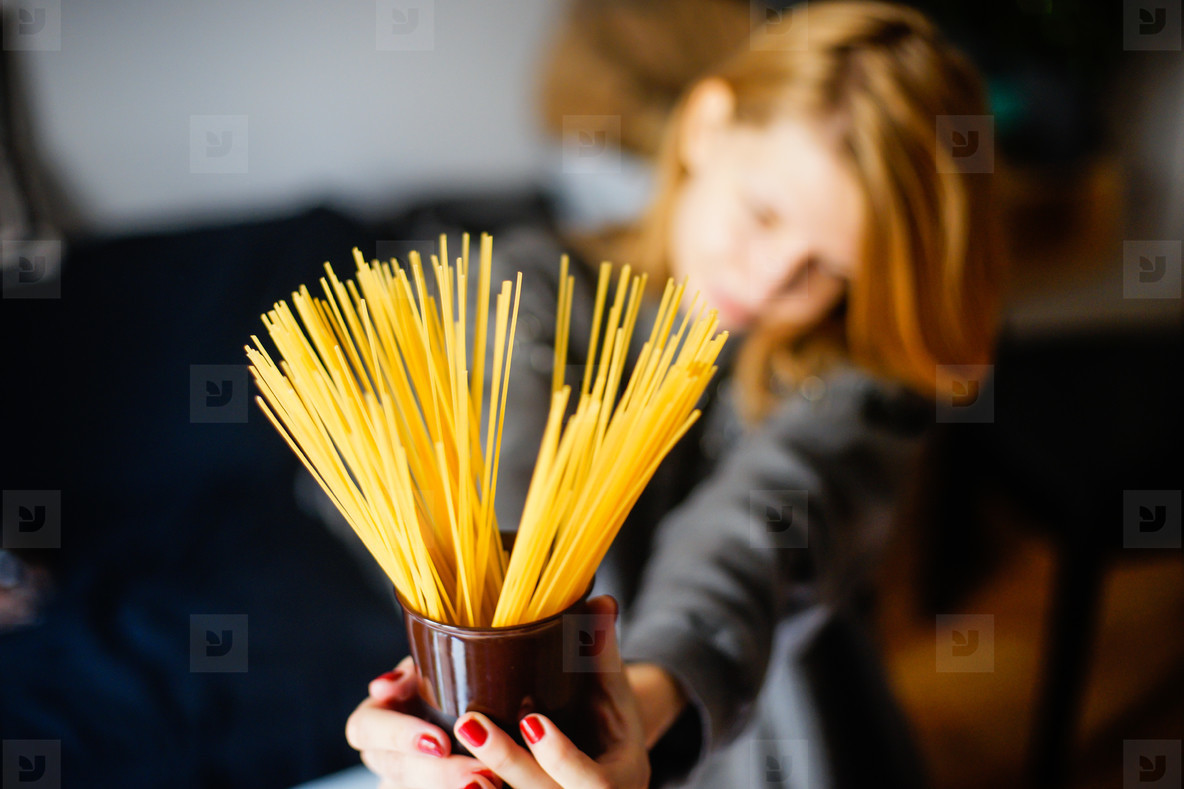woman with pasta