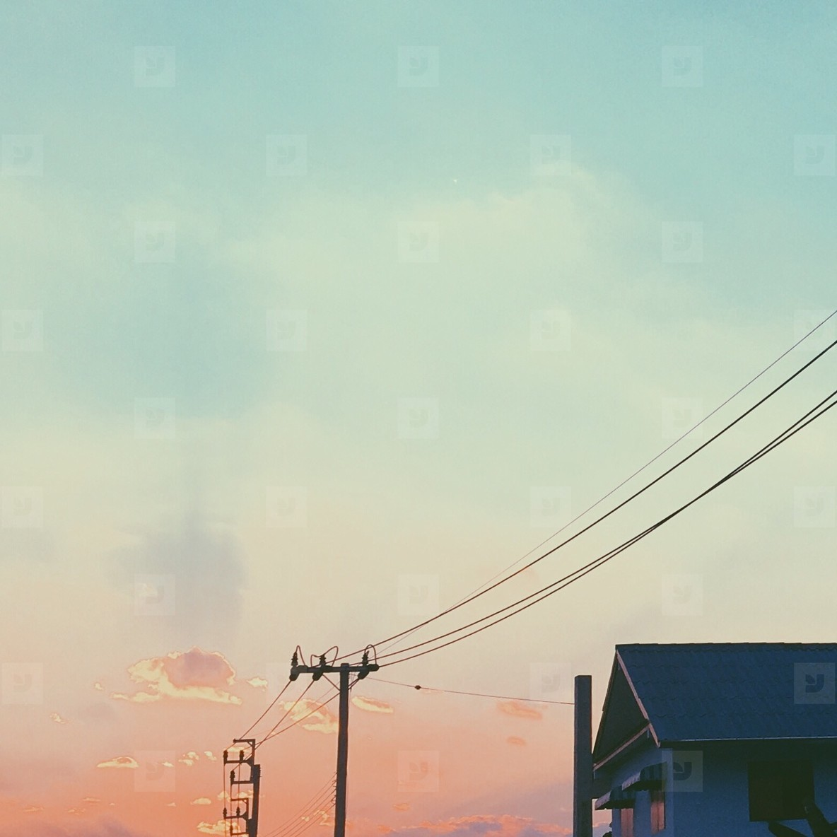 Electrical pole and house