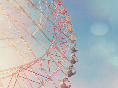 Colorful ferris wheel on sky