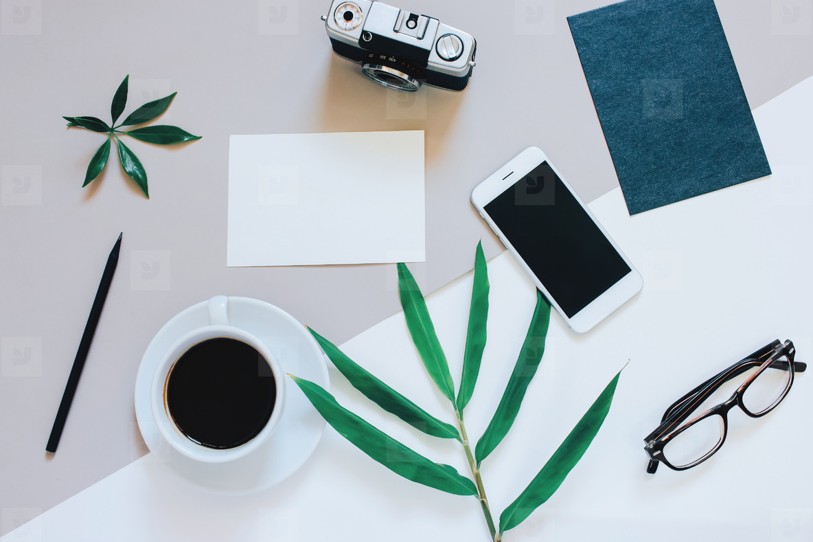 Creative flat lay of workspace