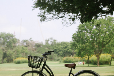 Retro bicycle in public park