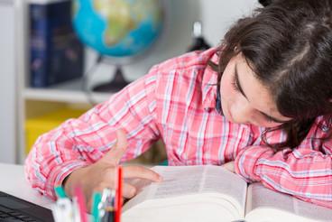 Teenage girl studying at home