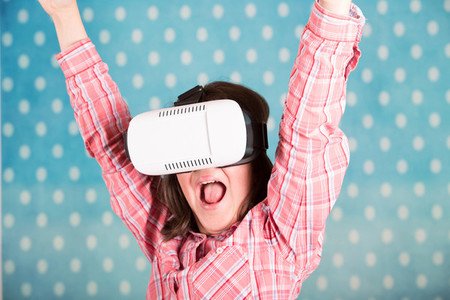 Girl with virtual reality glasse
