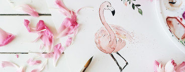 Flamingo painted with watercolor