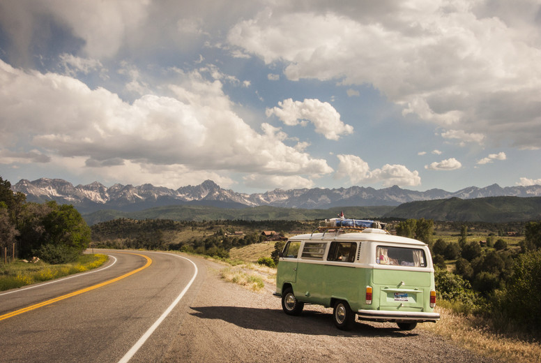VW Bus on Colorado Road