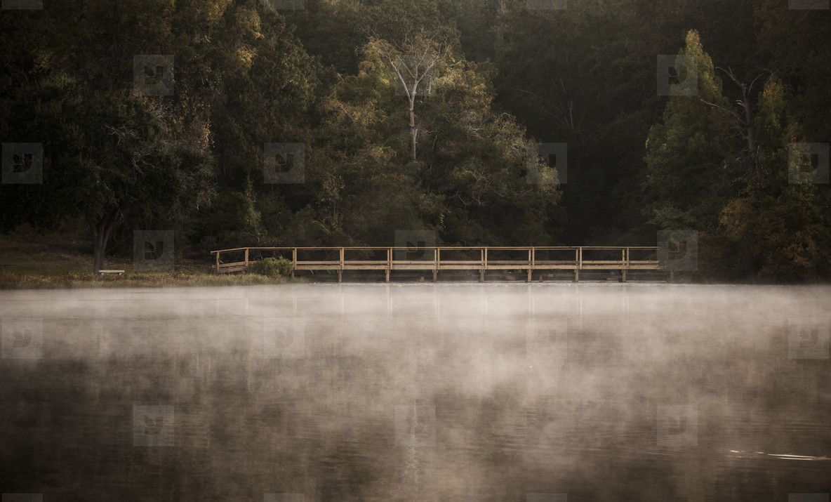 Mist on water in the morning