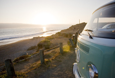 VW Bus on California coast
