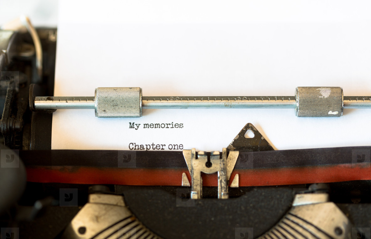 Vintage typewriter with a text