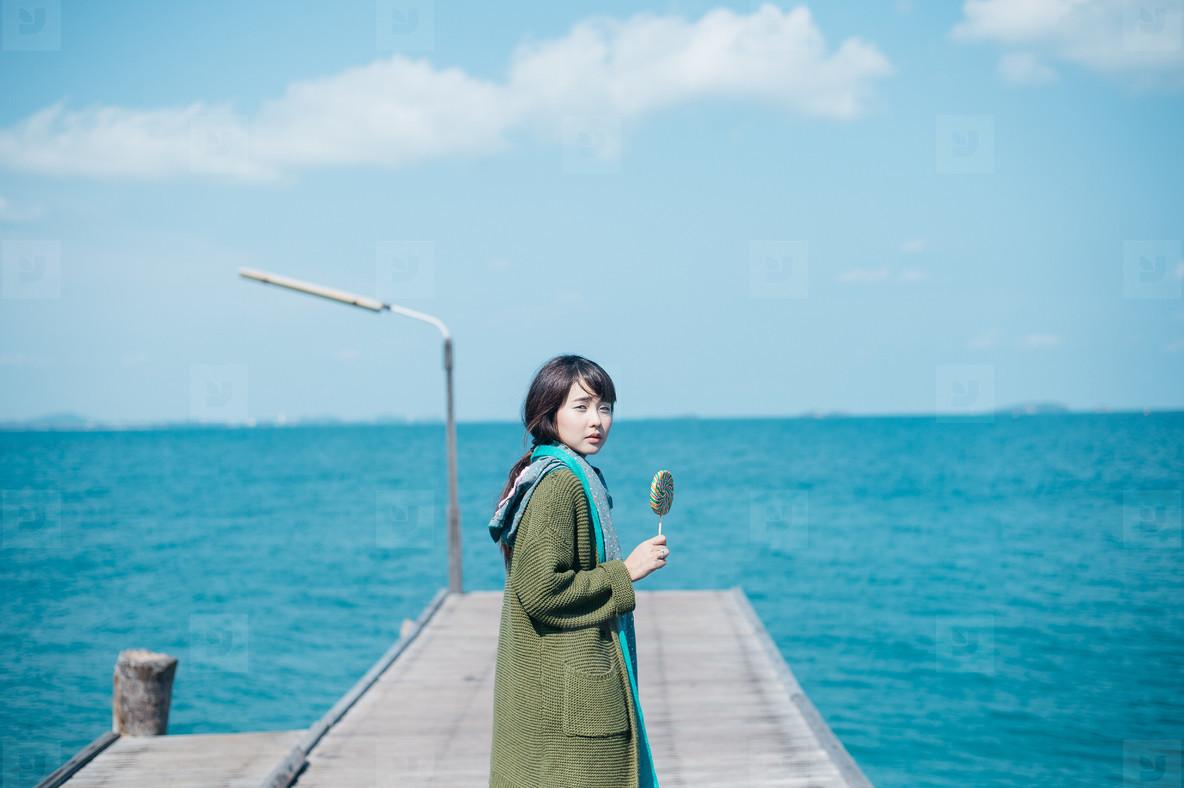 Asian girl on summer holidays 12