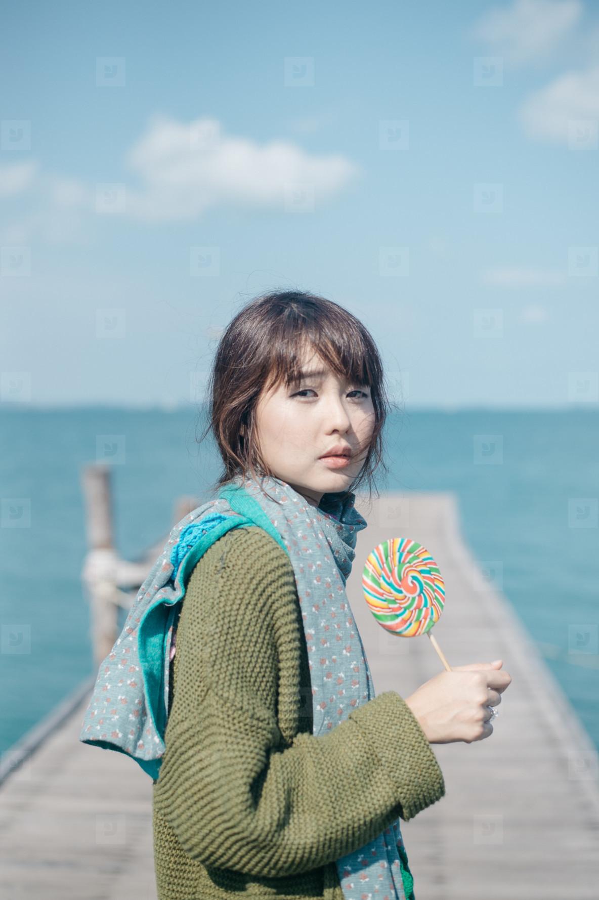 Asian girl on summer holidays 14