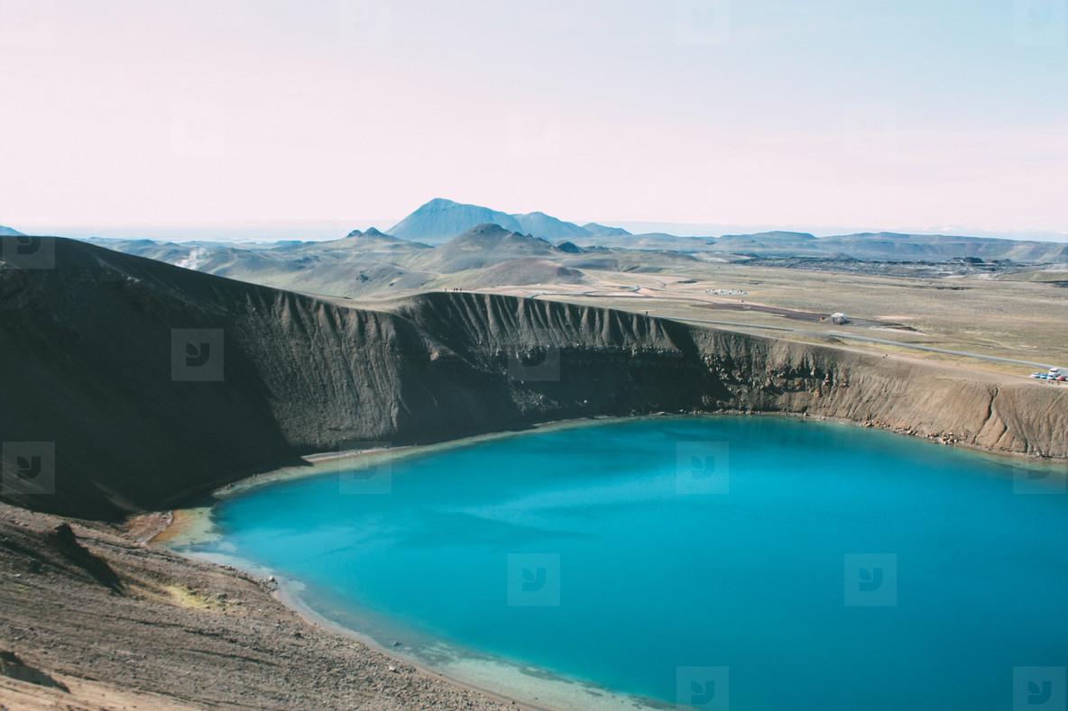 Volcanic lake in Iceland  north landscape