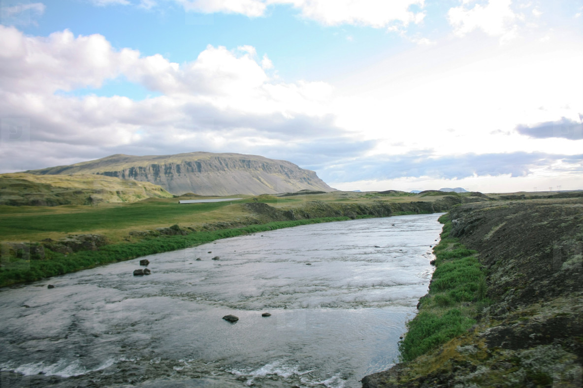 Icelandic landscape with rivers and mountains