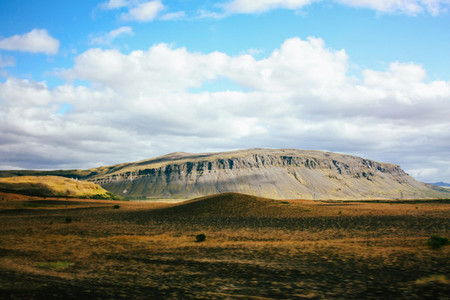 Icelandic landscape with green mountains