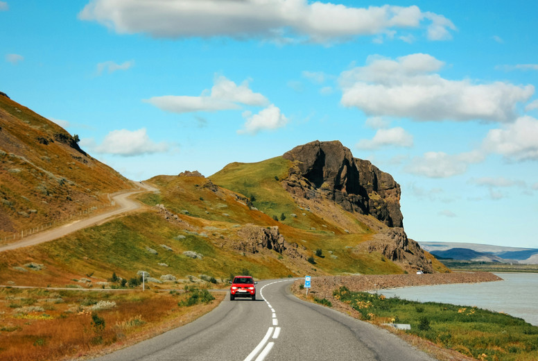 Road leading to mountains  icelandic landscape