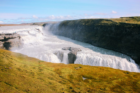 Gullfoss waterfall with moss in Iceland