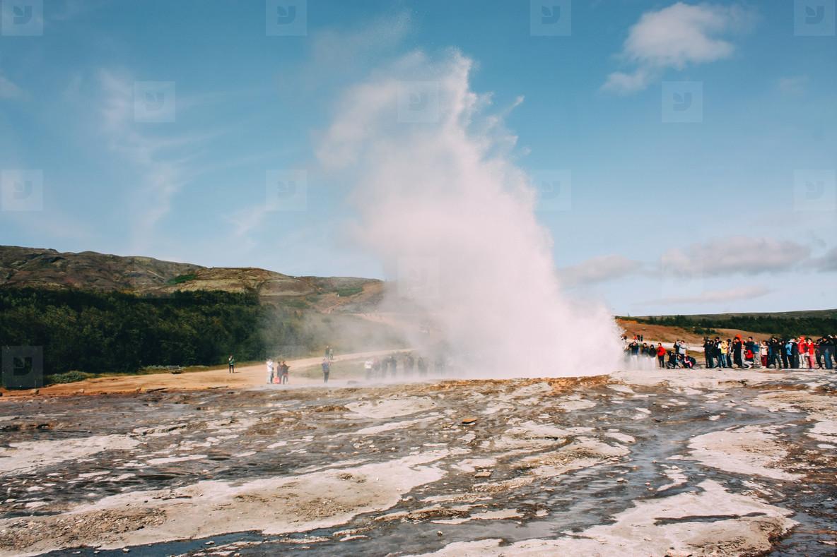 Geyser erupting  golden circle near Reykjavik in Iceland