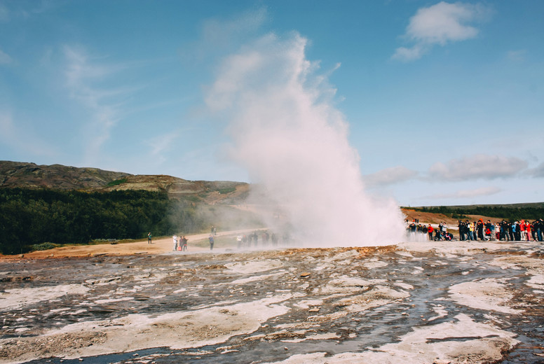 Geyser erupting  golden circle near Reykjavik in Iceland