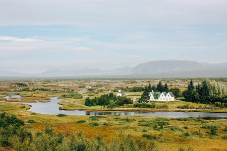 Icelandic landscape country houses and rural life
