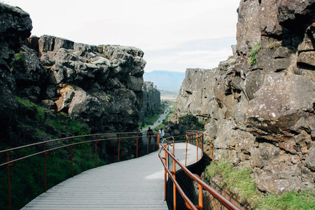 Thingvellir park in Iceland  the fault of tectonic plates