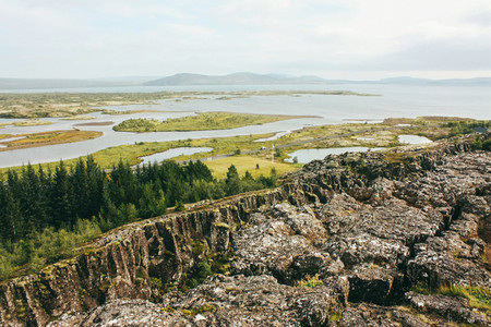 Icelandic rural landscape with rivers  Thingvellir park