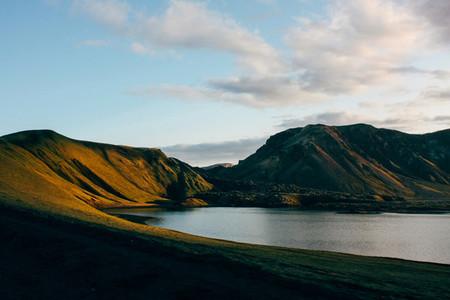 Beautiful Iceland mountain landscape with lake