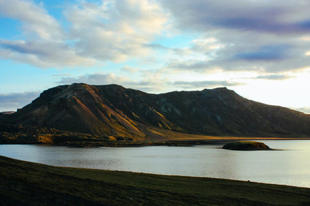 Icelad nature and mountains landscape with lake