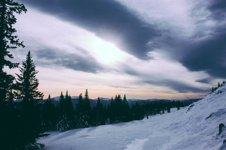 Ural Winter Mountains Landscape and Sunlight