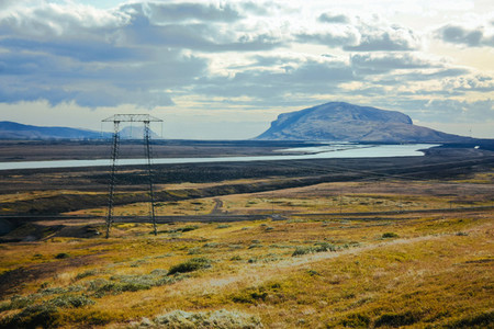Iceland nature and mountain landscape with electic post