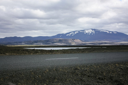 Icelandic mountain landscape with road