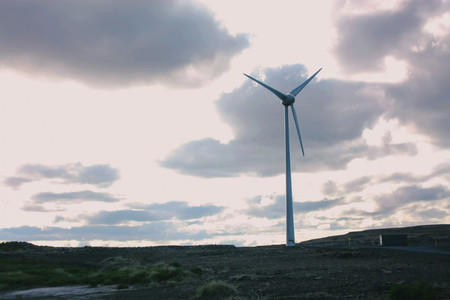 Icelandic landscape with windmill
