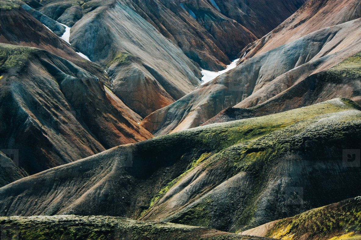 Icelandic landscape  Beautiful mountains and volcanic area with