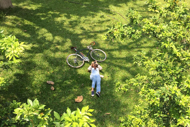 Young woman with a bike  03