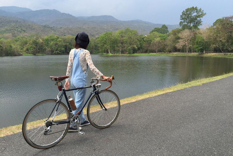 Young woman with bike  05