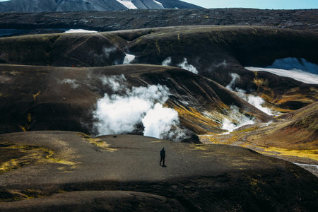 Hiking in Landmannalaugar  mountain landscape in Iceland