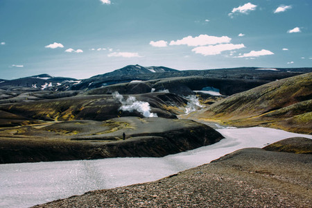 Landscape with moss and snow river in Iceland  Mountain tourism